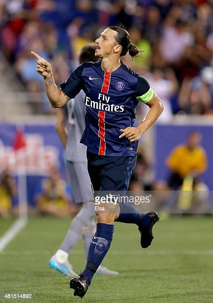 Zlatan Ibrahimovic of Paris SaintGermain celebrates his goal in the second half against AFC Fiorentina during the International Champions Cup at Red...