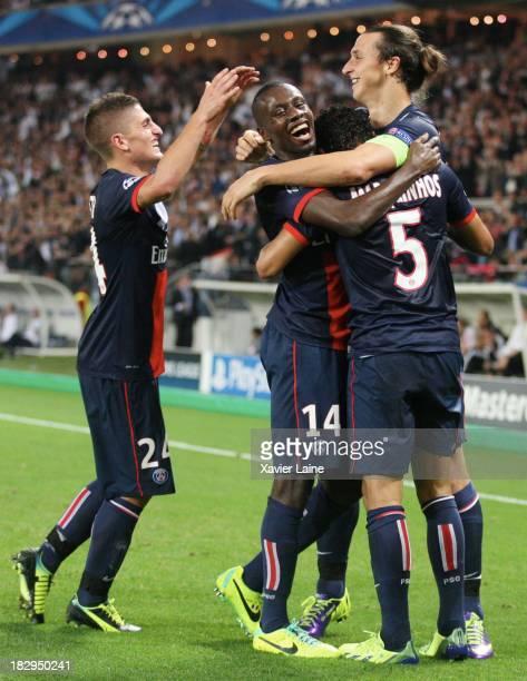 Zlatan Ibrahimovic of Paris SaintGermain celebrates his goal celebrates with Marco Verratti Blaise Matuidi and Marquinhos during the UEFA Champions...