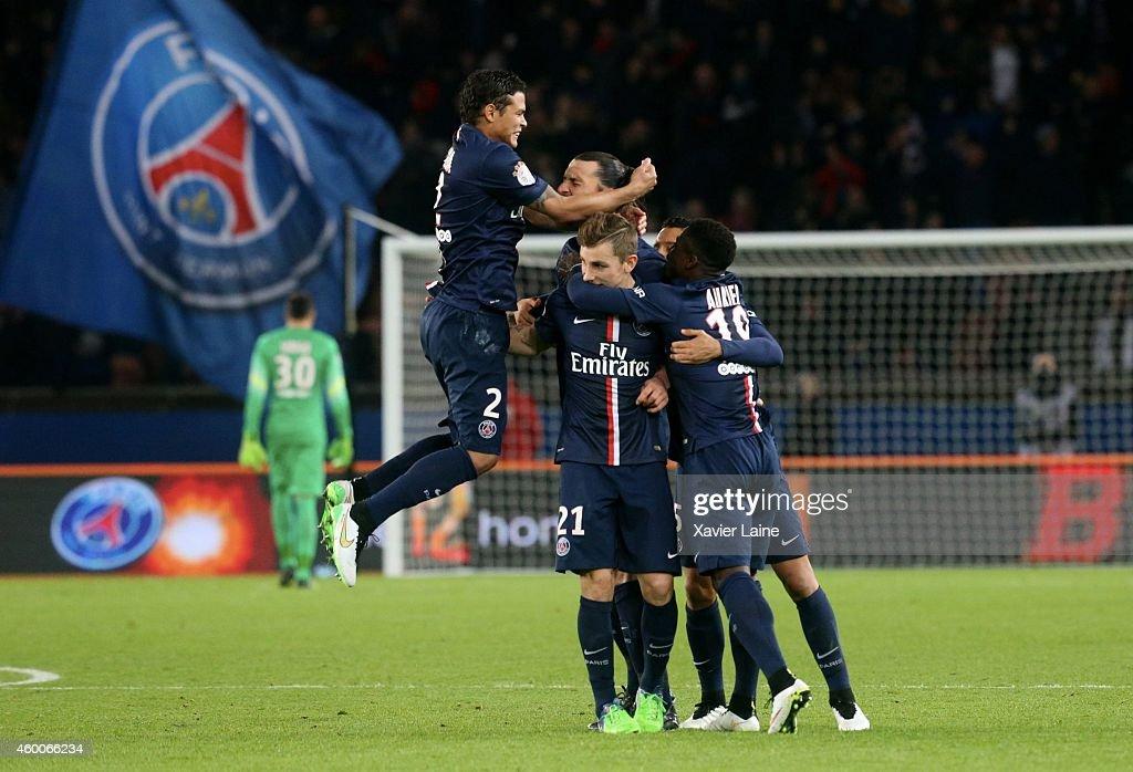 Zlatan Ibrahimovic of Paris Saint-Germain celebrates his second goal with Marquinhos, Lucas Digne and Thiago Silva during the French Ligue 1 between Paris Saint-Germain FC and FC Nantes at Parc Des Princes on December 06, 2014 in Paris, France.