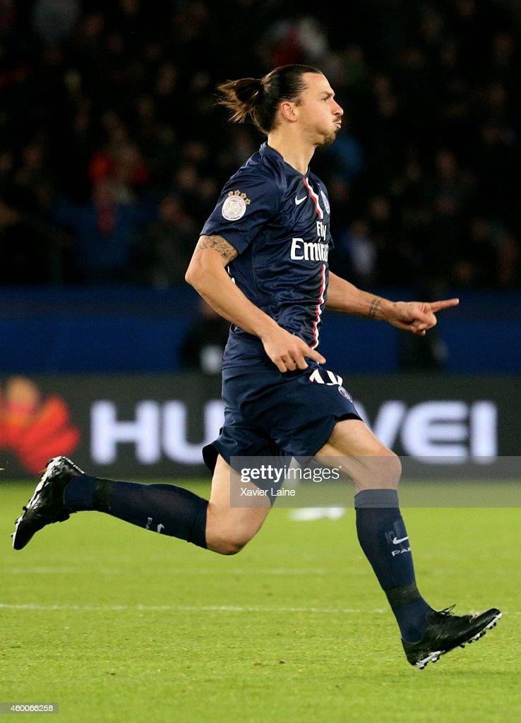 Zlatan Ibrahimovic of Paris Saint-Germain celebrates his second goal during the French Ligue 1 between Paris Saint-Germain FC and FC Nantes at Parc Des Princes on December 06, 2014 in Paris, France.
