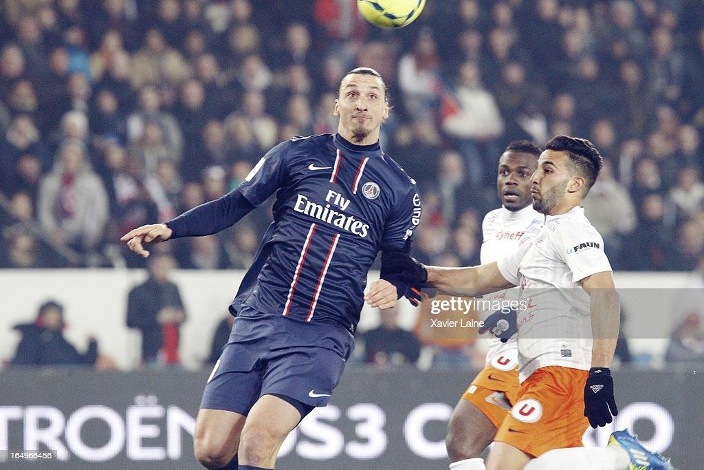 Zlatan Ibrahimovic of Paris Saint-Germain during the French League 1 between Paris Saint-Germain FC and Montpellier Herault SC, at Parc des Princes on March 29, 2013 in Paris, France.