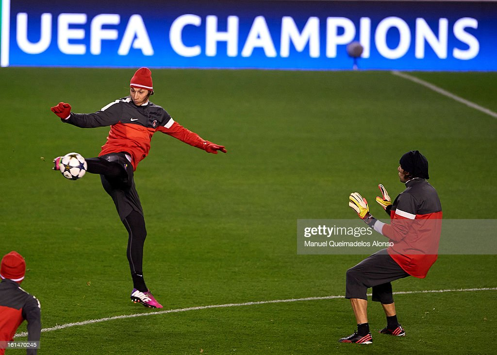 Zlatan Ibrahimovic of Paris Saint-Germain in action during a Paris Saint-Germain training session ahead of the UEFA Champions League match between Valencia CF and Paris St Germain at Estadi de Mestalla on February 11, 2013 in Valencia, Spain.