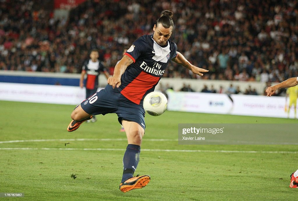 Zlatan Ibrahimovic of Paris Saint-Germain in action during the French League 1 between Paris Saint-Germain FC and AC Ajaccio, at Parc des Princes on August 18, 2013 in Paris, France.