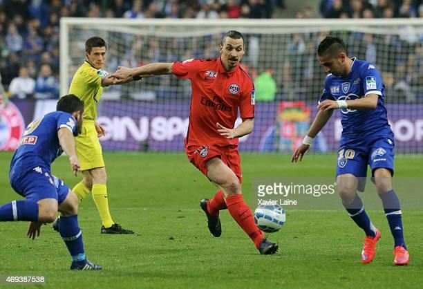 Zlatan Ibrahimovic of Paris SaintGermain in action during the French League Cup Final between Paris SaintGermain and SC bastia FC at Stade de France...