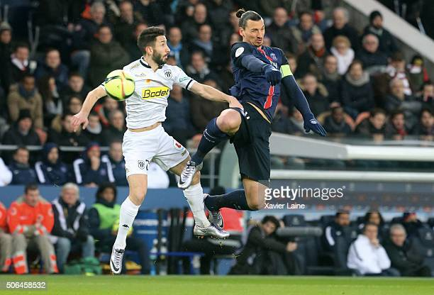 Zlatan Ibrahimovic of Paris SaintGermain in action with Yoann Andreu of SCO Angers during the French Ligue 1 between Paris SaintGermain and SCO...