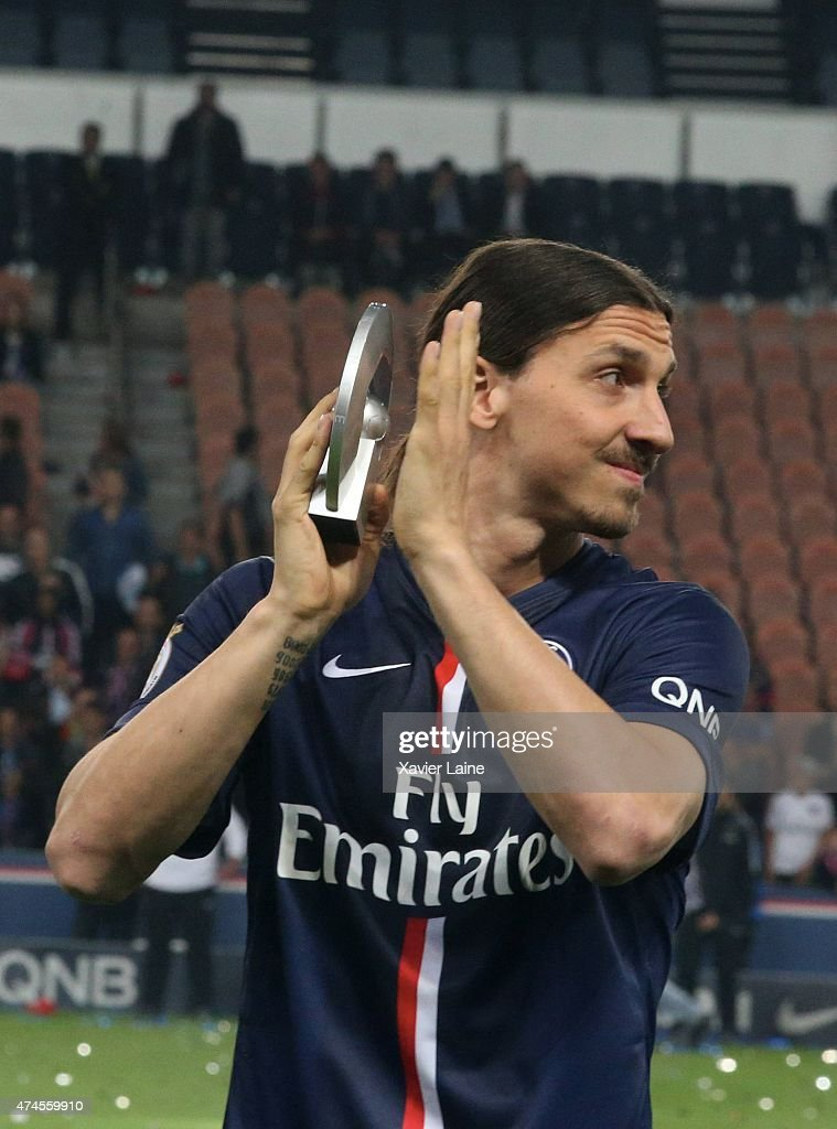 Zlatan Ibrahimovic of Paris Saint-Germain react and celebrates winning the championship after the French Ligue 1 game between Paris Saint-Germain FC and Stade de Reims at Parc Des Princes on may 23, 2015 in Paris, France.