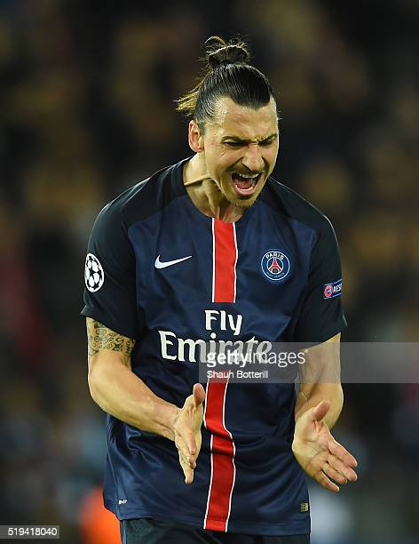 Zlatan Ibrahimovic of Paris SaintGermain reacts after his shot off target during the UEFA Champions League Quarter Final First Leg match between...