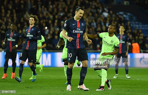 Zlatan Ibrahimovic of Paris SaintGermain reacts after missing a penalty during the UEFA Champions League Quarter Final First Leg match between Paris...