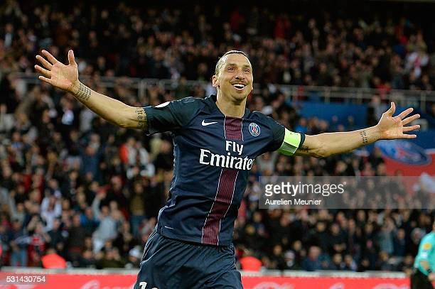 Zlatan Ibrahimovic of Paris SaintGermain reacts after scoring his 37th goal of the season during the Ligue 1 game between Paris SaintGermain and FC...