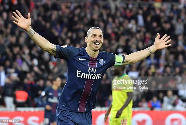 Zlatan Ibrahimovic of Paris Saint-Germain reacts after scoring his 37th goal of the season during the French Ligue match between Paris Saint-Germain...