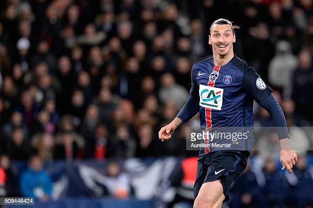 Zlatan Ibrahimovic of Paris SaintGermain reacts during the French Cup game between the Paris SaintGermain and Olympique Lyonnais at Parc des Princes...