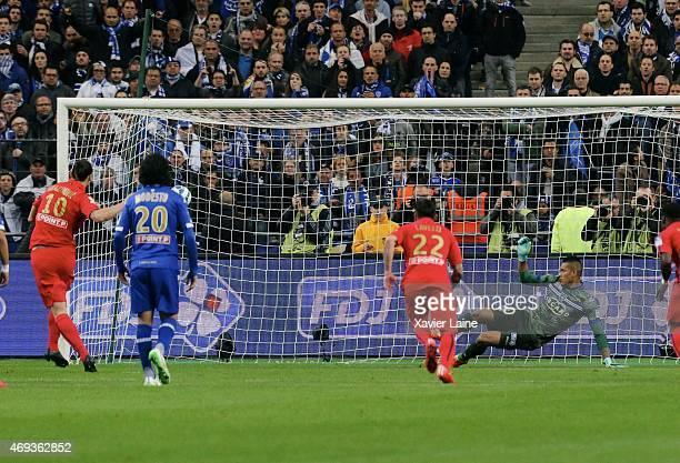 Zlatan Ibrahimovic of Paris SaintGermain score a goal during the French League Cup Final between Paris SaintGermain and SC bastia FC at Parc Des...