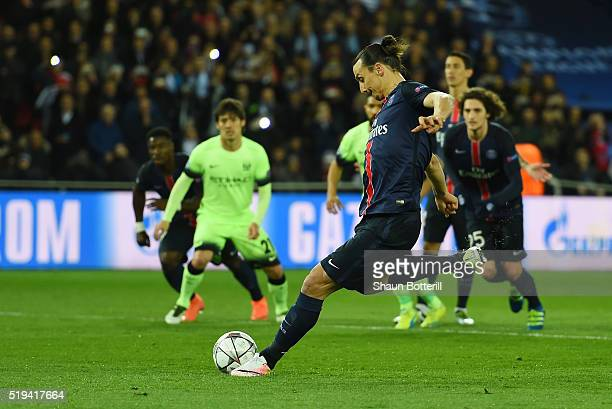 Zlatan Ibrahimovic of Paris SaintGermain takes a penalty saved by Joe Hart of Manchester City during the UEFA Champions League Quarter Final First...