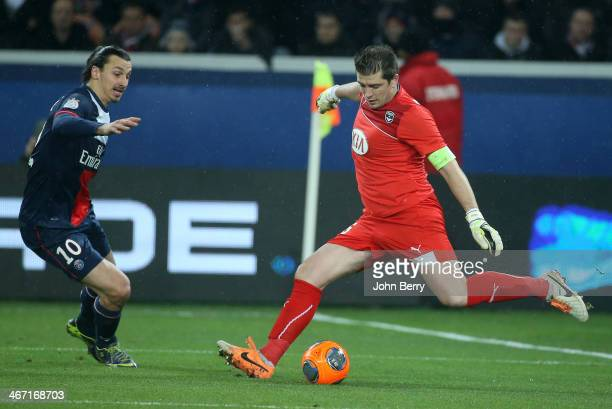 Zlatan Ibrahimovic of PSG and Cedric Carrasso goalkeeper of Bordeaux in action during the Ligue 1 match between Paris SaintGermain FC and FC...