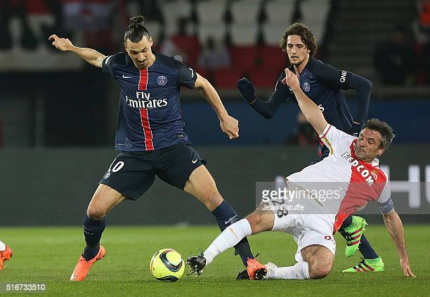 Zlatan Ibrahimovic of PSG and Jeremy Toulalan of Monaco in action during the French Ligue 1 match between Paris SaintGermain v AS Monaco at Parc des...