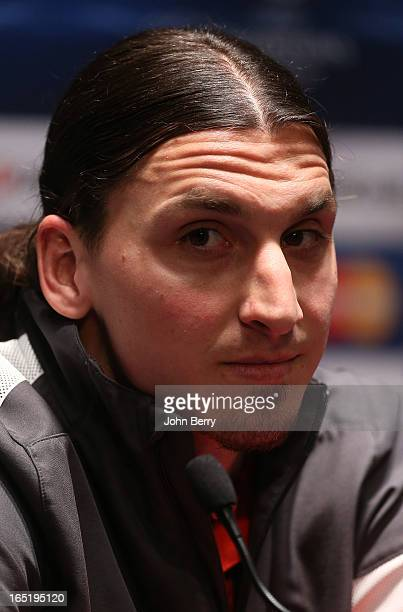 Zlatan Ibrahimovic of PSG answers questions from the media during a press conference on the eve of the Champions League's quarterfinal between Paris...