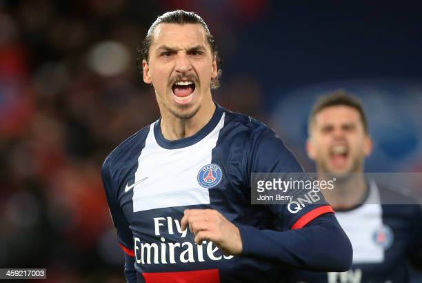 Zlatan Ibrahimovic of PSG celebrates his goal during the french Ligue 1 match between Paris SaintGermain FC and Lille LOSC at the Parc des Princes...