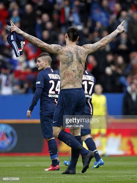Zlatan Ibrahimovic of PSG celebrates his goal during the French Ligue 1 match between Paris SaintGermain FC and Stade Malherbe Caen at Parc des...