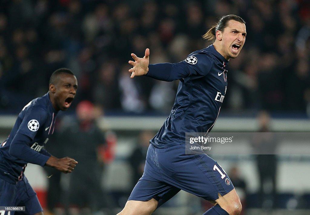 Zlatan Ibrahimovic of PSG celebrates his goal during the UEFA Champions League quarter-final first leg between Paris Saint-Germain FC and FC Barcelona, at the Parc des Princes stadium on April 2, 2013 in Paris France.