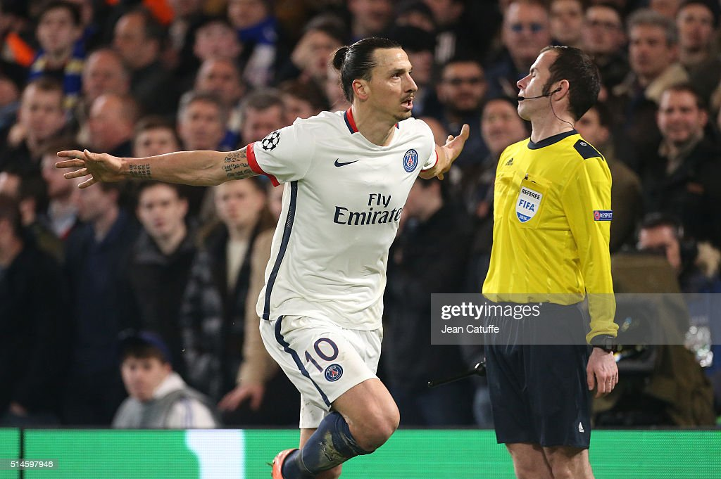 Zlatan Ibrahimovic of PSG celebrates his goal during the UEFA Champions League round of 16 second leg match between Chelsea FC and Paris Saint-Germain at Stamford Bridge stadium on March 9, 2016 in London, England.