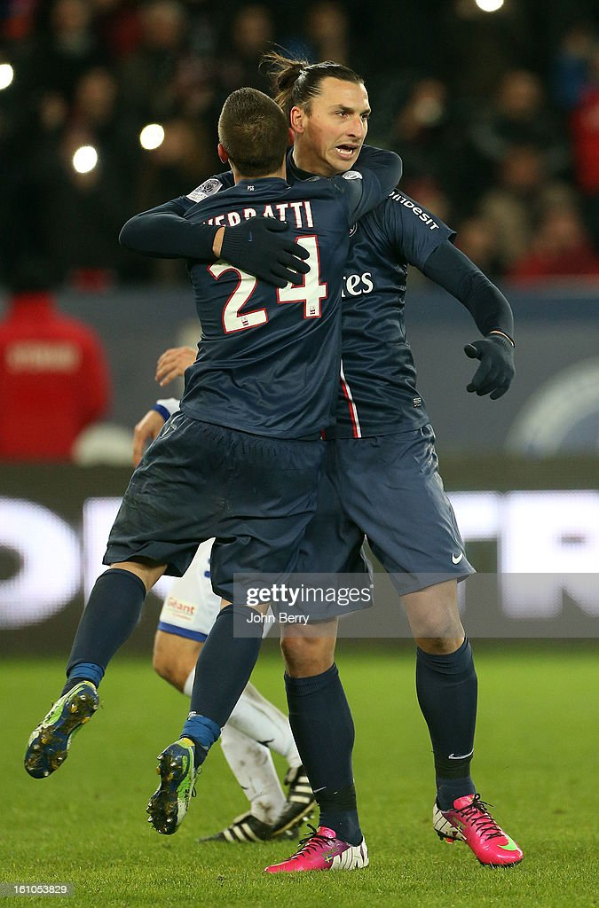 Zlatan Ibrahimovic of PSG celebrates his goal with Marco Verratti during the French Ligue 1 match between Paris Saint Germain FC and Sporting Club de Bastia at the Parc des Princes stadium on February 8, 2013 in Paris, France.