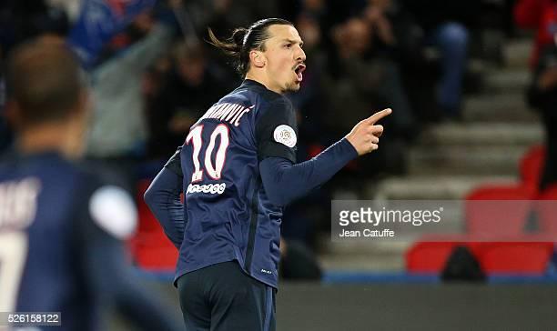 Zlatan Ibrahimovic of PSG celebrates his second goal during the French Ligue 1 match between Paris SaintGermain and Stade Rennais FC at Parc des...