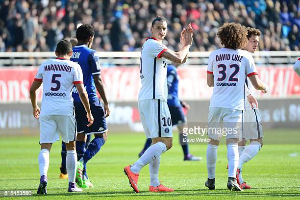 Zlatan Ibrahimovic of PSG celebrates putting PSG 40 up during the French Ligue 1 match between ESTAC Troyes and Paris SaintGermain at Stade de l'Aube...