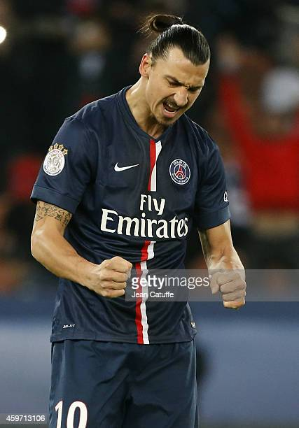 Zlatan Ibrahimovic of PSG celebrates scoring a goal during the French Ligue 1 match between Paris Saint-Germain FC and OGC Nice at Parc des Princes...