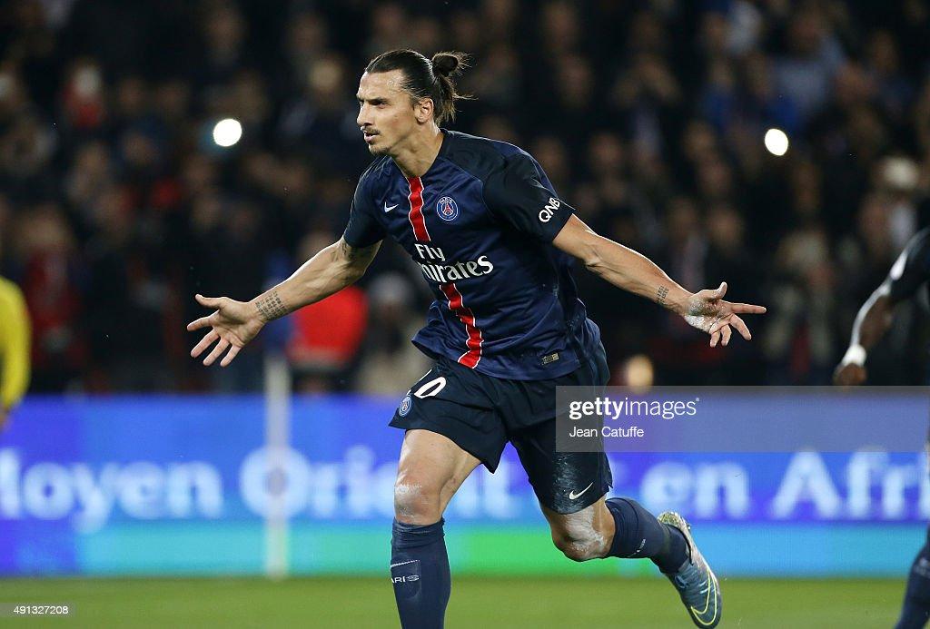 Zlatan Ibrahimovic of PSG celebrates scoring a goal during the French Ligue 1 match between Paris Saint-Germain FC (PSG) and Olympique de Marseille at Parc des Princes stadium on October 4, 2015 in Paris, France.