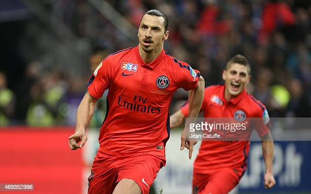 Zlatan Ibrahimovic of PSG celebrates scoring his first goal during the French League Cup final between Paris SaintGermain FC and Sporting Club de...