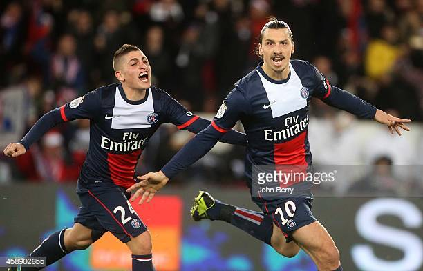 Zlatan Ibrahimovic of PSG celebrates scoring the opening goal with Marco Verratti during the french Ligue 1 match between Paris SaintGermain FC and...