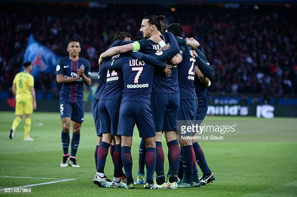 Zlatan Ibrahimovic of PSG celebrates the first goal during the football french Ligue 1 match between Paris SaintGermain and FC Nantes at Parc des...