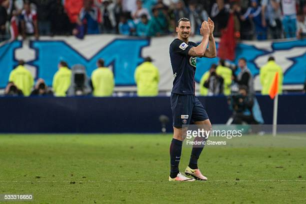 Zlatan Ibrahimovic of PSG congratulated the public being substituted just before the end of the French Cup Final between Paris Saint Germain and...