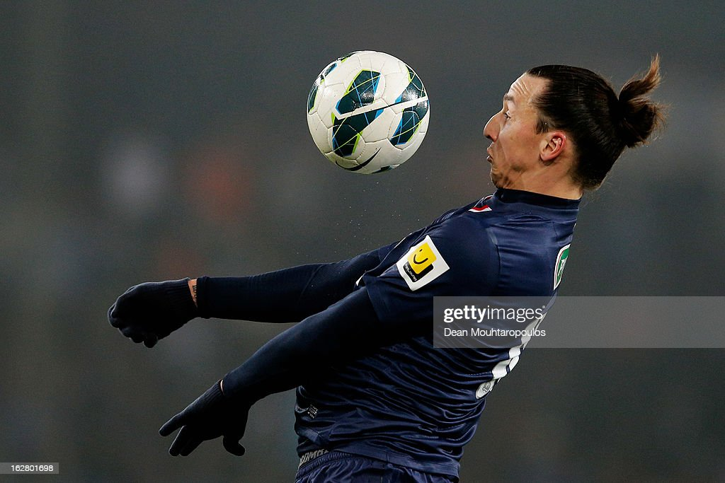 Zlatan Ibrahimovic of PSG controls the ball on his chest during the French Cup match between Paris Saint-Germain FC and Marseille Olympic OM at Parc des Princes on February 27, 2013 in Paris, France.
