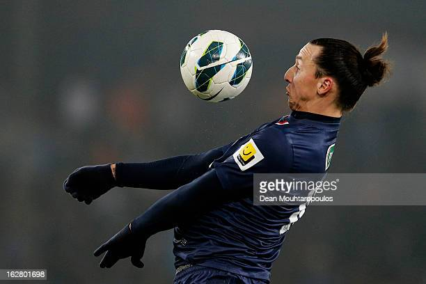 Zlatan Ibrahimovic of PSG controls the ball on his chest during the French Cup match between Paris SaintGermain FC and Marseille Olympic OM at Parc...