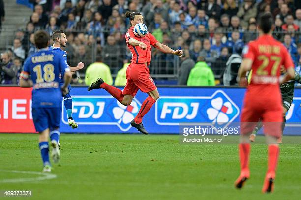 Zlatan Ibrahimovic of PSG in action during the French League Cup Final between Paris SaintGermain and SC Bastia FC at Stade de France on April 11...