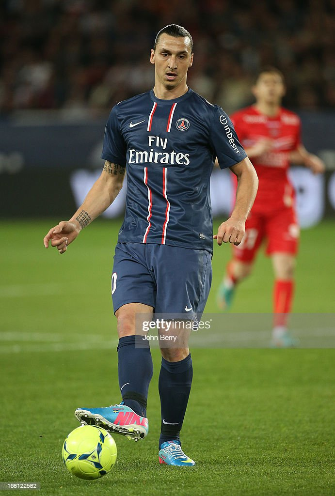 Zlatan Ibrahimovic of PSG in action during the Ligue 1 match between Paris Saint-Germain FC and Valenciennes FC at the Parc des Princes stadium on May 5, 2013 in Paris, France.