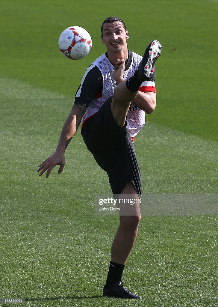 Zlatan Ibrahimovic of PSG in action during the Paris Saint Germain training session held at the Aspire Academy for Sports Excellence on December 30, 2012 in Doha, Qatar.