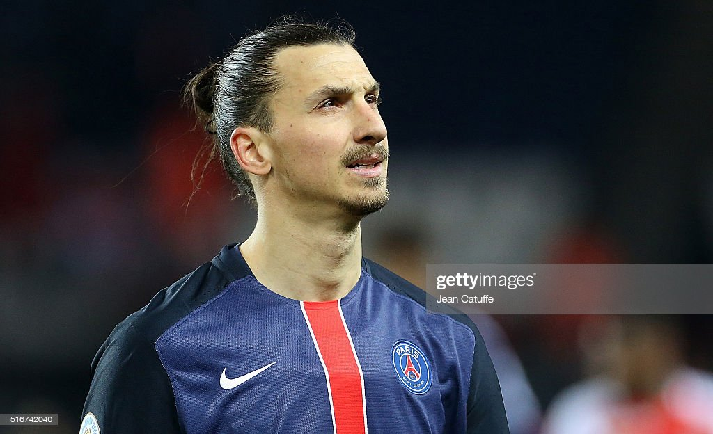 Zlatan Ibrahimovic of PSG looks on during the French Ligue 1 match between Paris Saint-Germain v AS Monaco at Parc des Princes on March 20, 2016 in Paris, France.