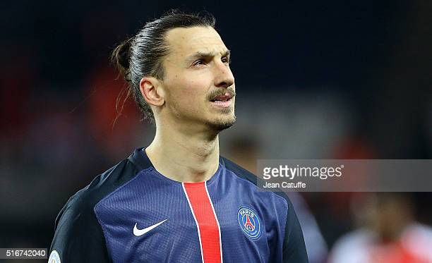 Zlatan Ibrahimovic of PSG looks on during the French Ligue 1 match between Paris SaintGermain v AS Monaco at Parc des Princes on March 20 2016 in...