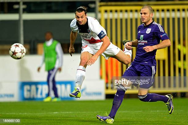 Zlatan Ibrahimovic of PSG scores 0-5 during the UEFA Champions League Group C match between RSC Anderlecht and Paris Saint-Germain FC on October 23,...
