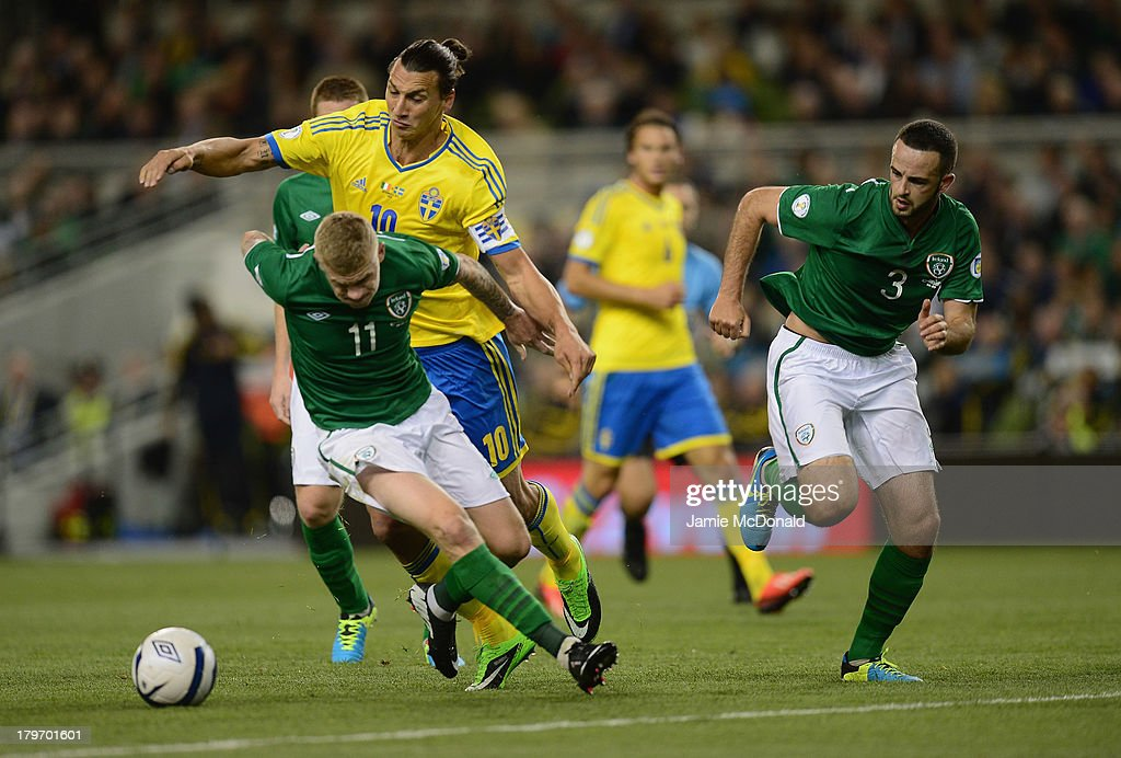 Zlatan Ibrahimovic of Republic of Ireland battles with James McClean of Sweden during the FIFA 2014 World Cup Qualifying Group C match between Republic of Ireland and Sweden at Aviva Stadium on September 6, 2013 in Dublin, Ireland.