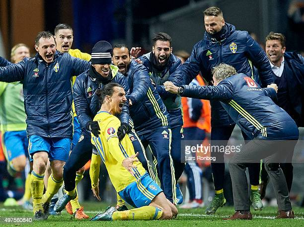 Zlatan Ibrahimovic of Sweden and head coach Erik Hamren celebrate after scoring their second goal during the UEFA EURO 2016 Qualifier PlayOff Second...