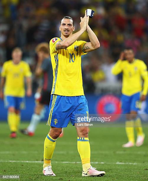 Zlatan Ibrahimovic of Sweden applauds the fans after defeat in the UEFA EURO 2016 Group E match between Sweden and Belgium at Allianz Riviera Stadium...