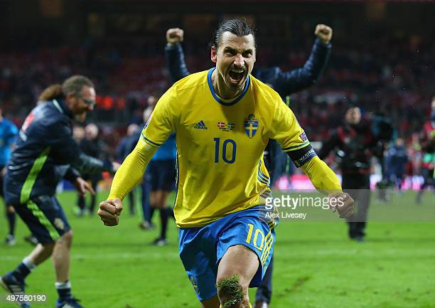 Zlatan Ibrahimovic of Sweden celebrates after the UEFA EURO 2016 Qualifier Play-Off Second Leg match between Denmark and Sweden at Parken Stadium on...