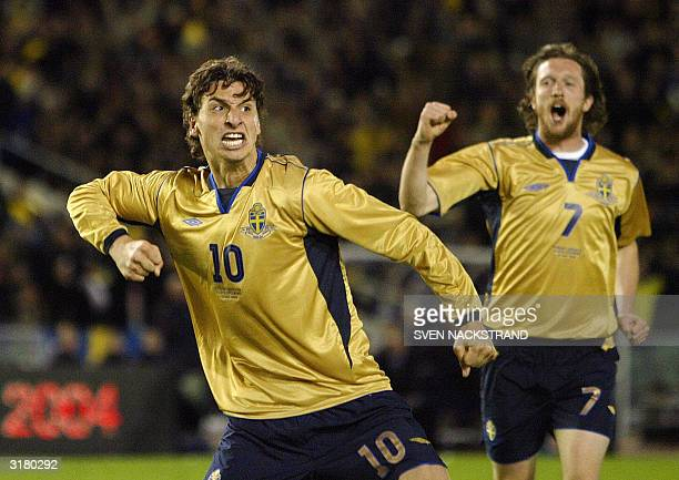 Zlatan Ibrahimovic of Sweden celebrates his 10 goal with Mikael Nilsson against England in the friendly match between the two countries in Gothenburg...