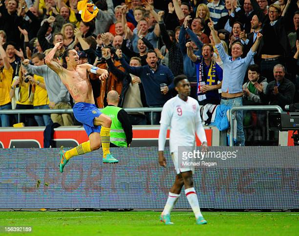 Zlatan Ibrahimovic of Sweden celebrates scoring his 4th goal during the international friendly match between Sweden and England at the Friends Arena...