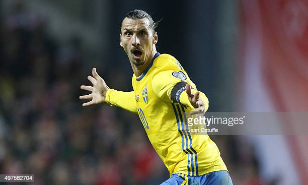 Zlatan Ibrahimovic of Sweden celebrates scoring his second goal during the UEFA EURO 2016 qualifier play-off second leg match between Denmark and...