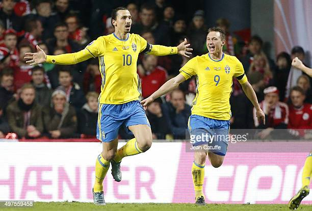 Zlatan Ibrahimovic of Sweden celebrates scoring the opening goal for his team during the UEFA EURO 2016 qualifier playoff second leg match between...