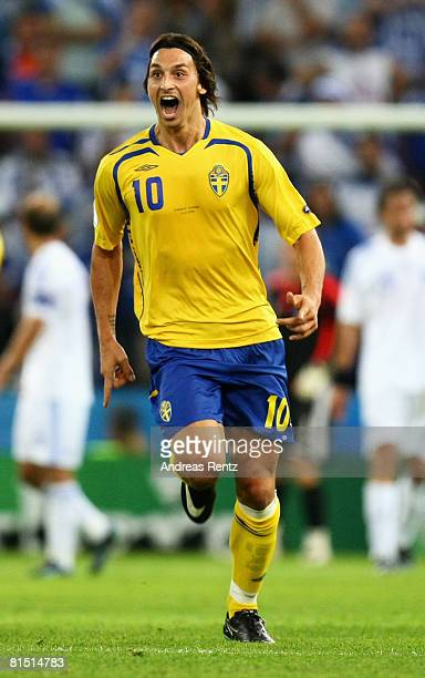 Zlatan Ibrahimovic of Sweden celebrates scoring the opening goal during the UEFA EURO 2008 Group D match between Greece and Sweden at Stadion...